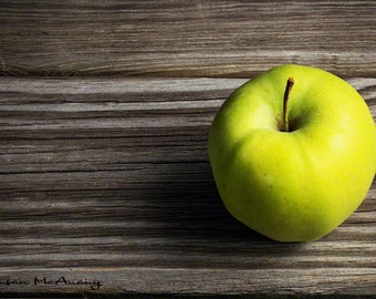 Green Apple Photograph, Nature Photography, One A Day, Fine Art Photography, Home Decor, Wall Art, Fruit Photograph, Nature Art, Kitchen Art