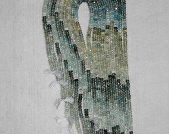 Aquamarine, Moss Aquamarine, Shaded Aquamarine, Faceted Rondelle, Grade AA, Gemstone Bead, Natural Stone, HALF Strand, 3 mm, AdrianasBeads