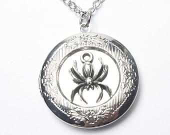 Silver Spider Locket Necklace,spider Locket Necklace,spider Jewelry, Spider Charm