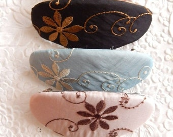 CLEARANCE - Embroidered oval barrette, thick floral ponytail holder