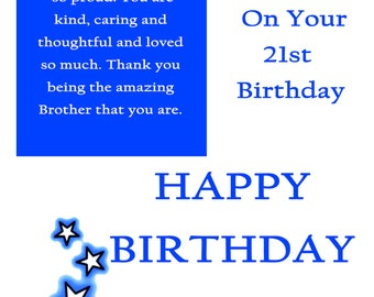 Brother 21 Birthday Card with removable laminate
