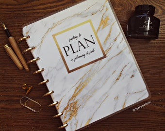 "Marble Planner COVER, Happy Planner Cover, Erin Condren Cover, Recollections Cover, Levenger Cover: ""Failing to Plan is Planning to Fail"""