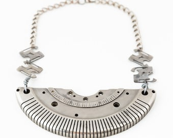 Elegant Silver Statement Necklace made from Vintage Typewriter Parts