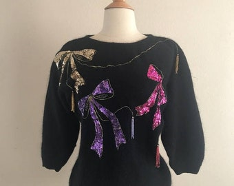 SHOP SALE Sparkling Sequins Sweater - 1980s Party - Black Angora wuth Jewel Tone Beading Size Small