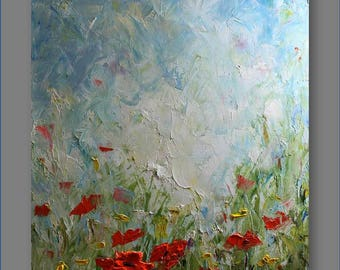Original Painting Landscape Painting Poppy Painting Contemporary  Abstract Flowers Palette Knife Living Room Art Painting by Mirjana