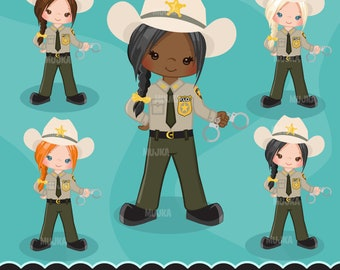 Sheriff, Cops, female police officer clipart, graphics, planner stickers, scrapbooking, digitized embroidery, commercial use,  art character