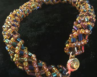 Russian Spiral Woven Glass Bead Bracelet