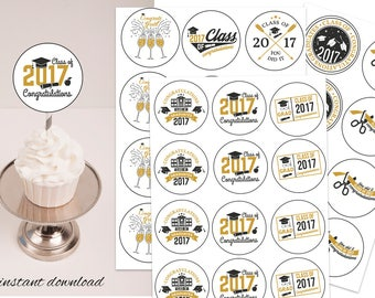 Grad cake, class of 17, commencement, 2017 cupcake toppers, class of 2017 cake, cup cake toppers, graduation cake, grad party, class of 2017