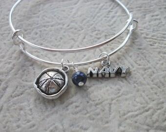 Navy Sailor Adjustable Bangle Bracelet - Midnight Blue Swarovski Pearl - Navy Wife, Mom, Girlfriend, Sister