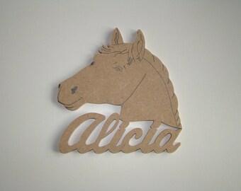 Horse with name wooden mdf door plaque