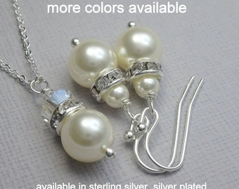 Swarovski Bridesmaid Gift Jewelry Set,  Swarovski Ivory Pearl Necklace and Earring Set, Bridal Party Jewelry Set, Maid of Honor Gift