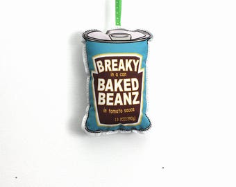 Baked beans can Christmas Ornament:  Australian/British food holiday ornament