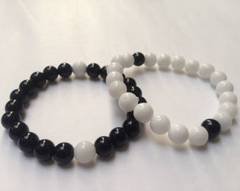 Set of Two Bracelet • His and Her Bracelets • One Black and One White Onyx Bracelets • Friendship Bracelet •  Handmade by Anima A31B