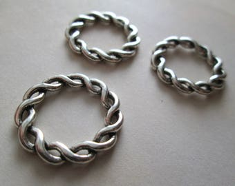 3-ring braided in silver 20mm