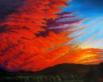 Red Sky at Night - original oil painting