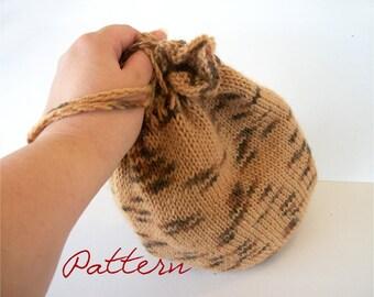 Knitting Pattern PDF: Round Knitted Drawstring Bag Wristlet Knit Bag