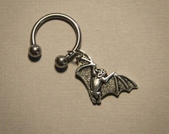 Bat Lip Ring, Bat body jewelry, piercing, 14 or 16 gauge Septum Jewelry, Nose Ring, Lip Jewelry, Goth Jewelry,
