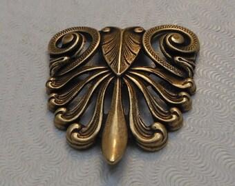 LuxeOrnaments Oxidized Brass Art Nouveau Filigree Shield 32x29mm (Qty 1) F-A3022D-B