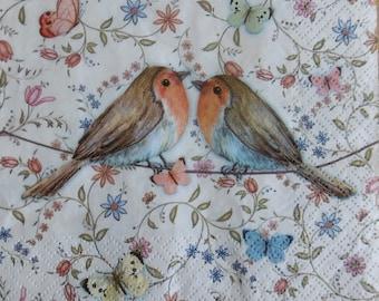 2 (294) Robin bird paper napkins
