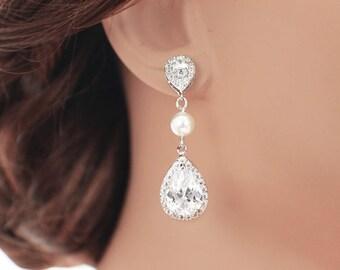 Bridal drop earrings, bridesmaid jewelry, Swarovski crystal, teardrop wedding earrings, crystal bridal jewelry, cubic zirconia earrings
