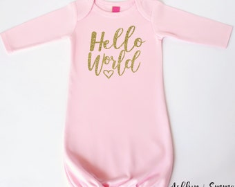Hello world coming home outfit - Baby clothes - Hello World newborn infant gown - Hello World baby gown - Newborn clothing