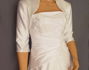 Satin bolero jacket wedding shrug bridal coat 3/4 sleeve cover up SBA101 AVAILABLE in white and 5 other colors. Small through plus size!