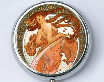 Art Nouveau goddess PILL CASE pillbox pill holder Girl flowing red hair