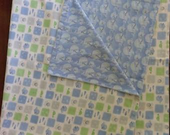 Reversible Ocean Friends Blue and Green Flannel Baby Blanket