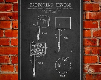 1980 Tattooing Device patent Canvas Art Print, Wall Art, Home Decor, Gift Idea
