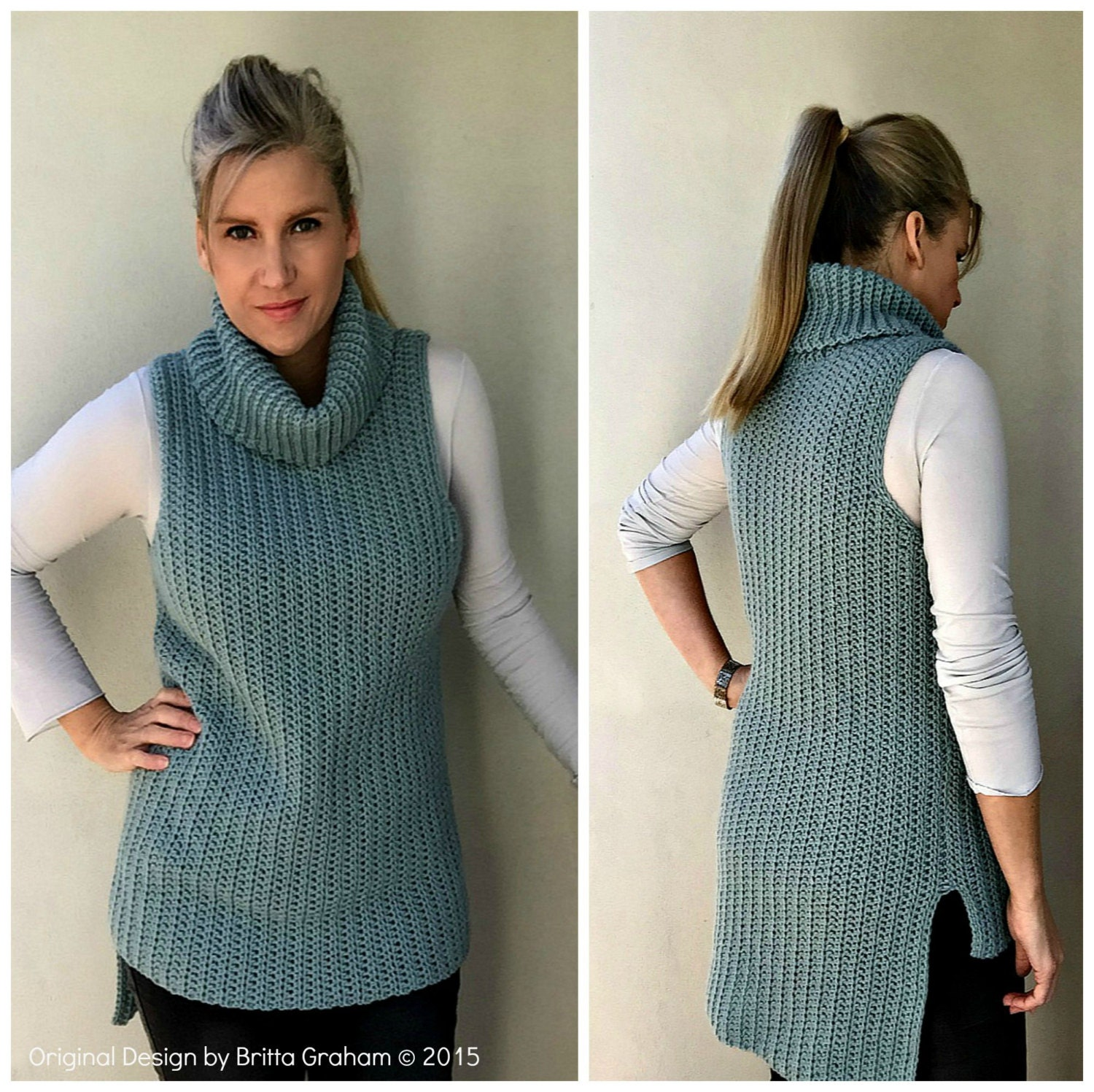 Easy Hi-Lo Cowl Neck Tunic Crochet Pattern - Sleeveless Ladies ...