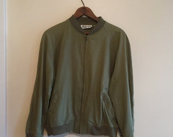 Raw Silk Olive Green Bomber Jacket