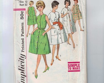 1960s Vintage Sewing Pattern Simplicity 4488 Misses One Piece Dress Unlined Coat and Housecoat Size 12 Bust 32 60s