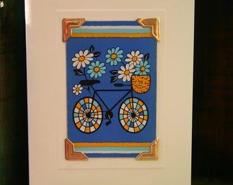 Handmade greetings/birthday card. Genuine vintage playing card, 1970s - bicycle - basket - flowers