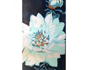 White Dahlia - Original Painting on Canvas
