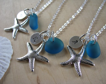 Peacock Wedding Jewelry Starfsh Necklaces Personalized Bridesmaid Jewelry Teal Sea Glass Necklaces for Beach Wedding