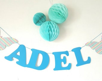 Garland name cotton paper coated + 2 butterflies