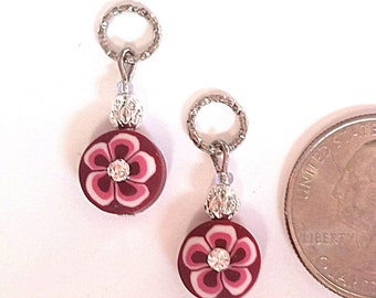 Hearing Aid Charms: Clay Polymer Rhinestone Flowers with silver plated and glass accent beads!