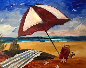 Handmade Acrylic Painting On Stretched Canvas 12x16, Beach Scene, Ocean, Colorful, Wall Art, Home Decor, Nice Gift Idea