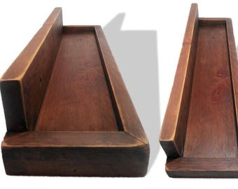 Reclaimed 1940s Wood Wall Hanging Shelf Rustic Vintage Kitchen Bathroom Laundry Room Simple Open Storage Picture Ledge Brown Tung Oil Finish