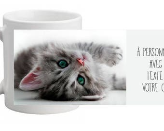 """MUG ceramic """"Little kitten"""" personalized with text of your choice"""