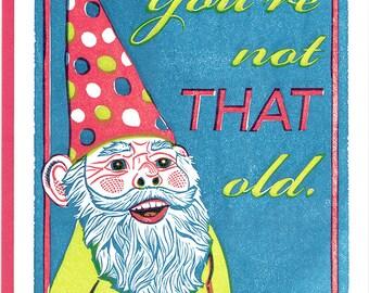 Happy Birthday Gnome Letterpress Card