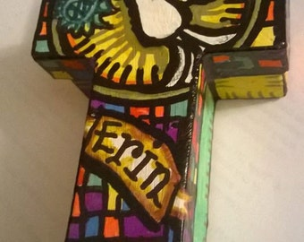 Hand painted.Cross Boxes. Confirmation and First Holy Communion gift/rosary box. Boys or girls personalised box.