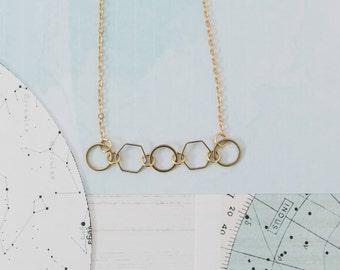 Geometric Necklace, Geometric Choker, Gold Hexagon Necklace, Statement Necklace, Triangle Necklace, Geometric Charms, Teenager Gift