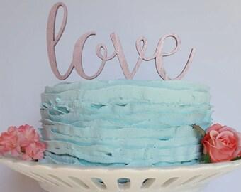 Rose Gold Love Wedding Cake Topper, cake topper wedding, rose gold cake topper, custom cake topper, wedding cake topper, love cake topper