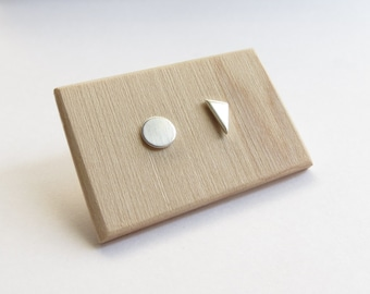 Minimalist Mismatched Circle and Triangle Sterling Silver Studs. Mismatched studs. Asymmetrical sterling silver stud earrings.