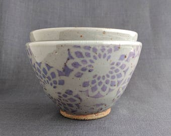 Purple and Gray Ceramic Nesting Bowls / Stacking Prep Set of Bowls / Pottery Flower Prep Bowls / Sizes in Description