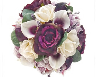 Stemple's Gatherings- Picasso and Plum Callas, Plum and Ivory Roses,Peonies,Lavender & Eucalyptus -In a vase or a bouquet