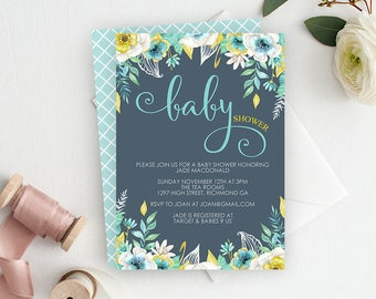 Floral Baby Shower Invitation, Baby Shower Invitation, Boy Baby Shower, Printable Invitation, Personalized Invitation, Floral Watercolor