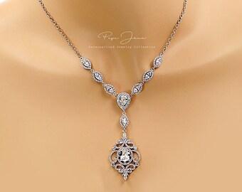Wedding Necklace Platinum Zirconia Bride Necklace Necklace Wedding Jewelry Bridal Necklace Bridal Jewelry Statement Necklace CZ Necklace Amo