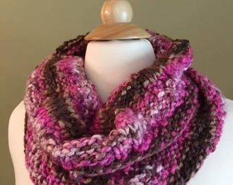 On Sale Chunky Cowl, Pink and Brown, Hand knit Winter Cowl, Handmade Gifts